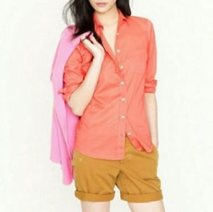 J. Crew Boyfriend Fit Coral Cotton Button Up Top